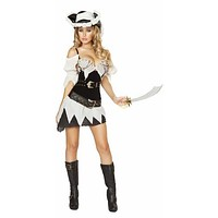 Sexy Cinched Waist Pirate Girl Halloween Costume