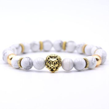 KANGKANG Charm Lion head Bracelet Classic Natural Stone 18 styles Bead Bracelets for Men Women Best Friend Hot Selling 2018