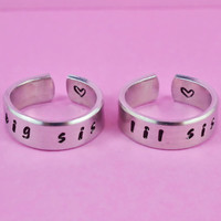 big sis / lil sis    Hand stamped Ring Set by WonderfulStamping