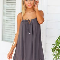 ANNELIESE DRESS (GREY) - Charcoal drawstring dress