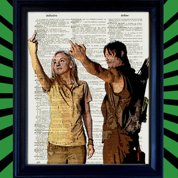 Daryl Dixon and Beth Greene Middle Finger Flipping Off The Walking Dead Poster Awesome Upcycled Vintage Dictionary Page Book Art Print 8x10
