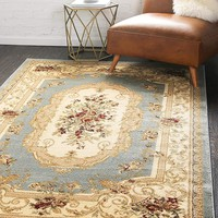 5106 Blue Floral Traditional Area Rugs