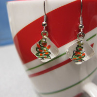Sale Christmas Tree  Earrings Glass tile - watercolor & Pen and Ink, Fun Handmade
