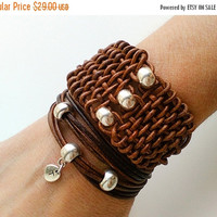 ON SALE Leather cuff bracelet for women, Woven leather wrap bracelet, Women's braided leather bracelet , Brown leather cuff, Leather jewelry