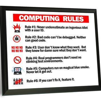 Computing Rules Typography  Wood Wall Plaque