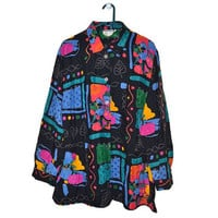 90s Plus Size Button Up Blouse Womens Shirts Colorful Geometric Abstract Floral Print Vintage XL XXL XXXL 2XL 3XL 80s 1980s 1990s