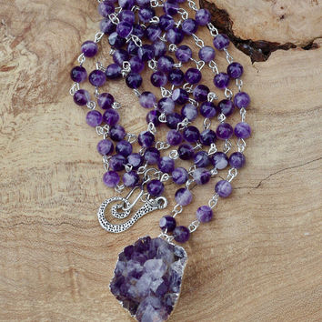 Amethyst Statement Necklace ~  Druzy Stone ~  Rope Necklace  ~ Amethyst  Stone Pendant ~ Extra Long Boho Necklace ~ February Birthstone