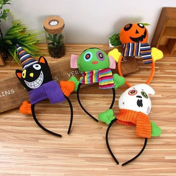 4pcs/lot Halloween Decorations Supplies Black Cat/Pumpkin/Witch/Ghost Headband Dolls Party Cosplay Headwear Kids Gift Head Hair
