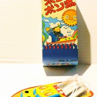 POP POP BOAT, Vintage tin toy, vintage Japanese tin toy, tin boat, vintage tin boat, retro collectible tin toy,retro tin toy,collectible toy