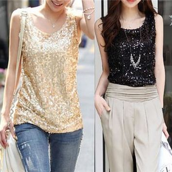 2017 New Summer Lady Plus Size Shirt Shining Vest Bling Sequin Tank Top Women Sleeveless Tops Basic T shirts Casual Camisole