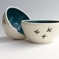 Teal Ceramic Bowl Set of 2 (made to order) - Black Bird design pottery by RossLab vintage-inspired romantic ceramics