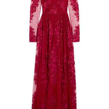 Zuhair Murad - Embroidered silk-blend tulle gown