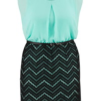 Plus Size - Chevron Stripe Skirt Chiffon Top Dress - Cool Aqua Combo