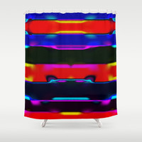 Simi 131 Shower Curtain by Gréta Thórsdóttir  #thread #communication #ikat #folklore  #ethnic #tribal #stripes #bathroom