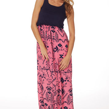Pink Navy Tribal Print Maxi Dress