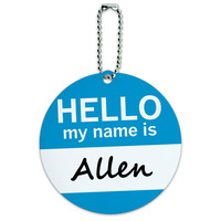Allen Hello My Name Is Round ID Card Luggage Tag