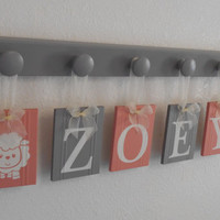 Lamb Baby Name Block . Lambs . Art Name Letters . 6 Plaques Personalized Name Block . ZOEY . Painted Gray and Coral . Lamb Baby Shower Gift