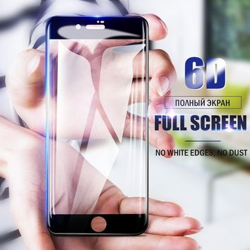 Newest 6D Curver Full Cover Screen Protector Shock-Proof And Anti-Fingerprint Tempered Glass For IPhone X 6 6 Plus 6s 6s Plus 7