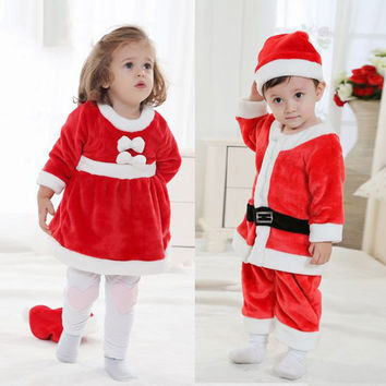 2016 baby girls boys santa claus costume clothing set hat children polyester little kids father christmas dress clothes FG050