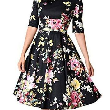 Sidefeel Women Vintage 1950's 3/4 Sleeve Floral Print Pleated Cocktail Swing Dress(s Xxl)