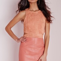 Missguided - Petite Faux Suede Wrap Crop Top Mauve