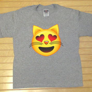 Kids Printed TShirt Cat In Love Emoji