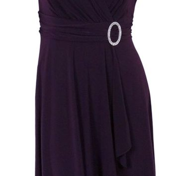Ruched Surplice Faux Wrap Embellished Jersey Dress