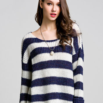 Blue White Striped Long Sleeve Sweater