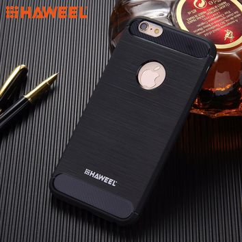 HAWEEL For iPhone 6 6s plus &iPhone 7 7 plus Brushed Carbon Fiber Texture Shockproof TPU Protective Case