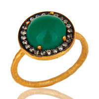 18K Yellow Gold Plated Sterling Silver Green Onyx And CZ Hammered Band Ring