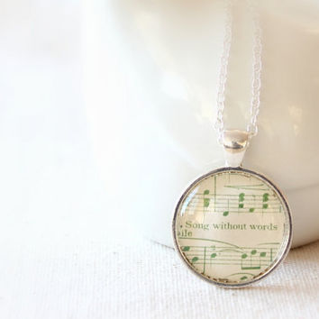 Green sheet music necklace  One of a kind unique by GildedNotes