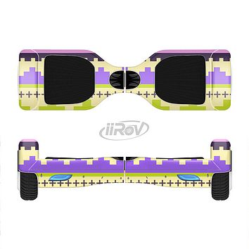 The Purple & Green Tribal Ethic Geometric Pattern Full-Body Skin Set for the Smart Drifting SuperCharged iiRov HoverBoard