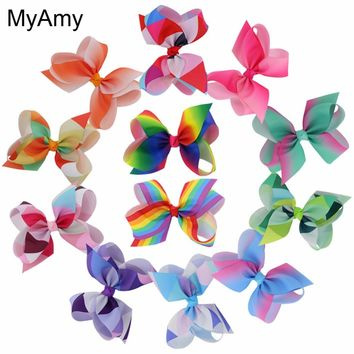 MyAmy 12pcs/lot  6'' grosgrain ribbon boutique hair bows WITHOUT clips girls rainbows hairbow For Teens Gift