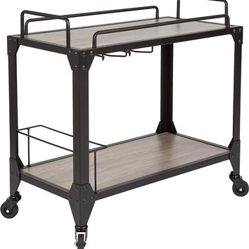 Midtown Light Oak Wood and Iron Kitchen Serving and Bar Cart with Wine Glass Holders [NAN-JH-17106-GG]