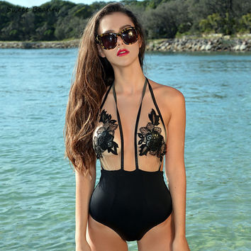 Sexy Mesh Halter One Piece Bandage Bodysuits Swimsuit
