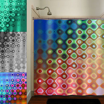 geometric multi color rainbow colorful art shower curtain bathroom decor fabric kids bath white black custom duvet cover rug mat window