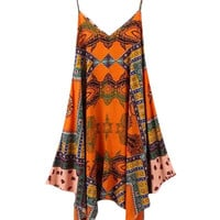 Orange Tribal Print Strappy V-Neck Sleeveless Asymmetrical Dress
