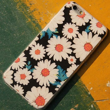 Vintage Floral Chrysanthemum Silicone Phone Case for iPhone 5 5s 6 6s 6Plus 6sPlus