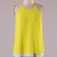 Daydreamer Sleeveless High Neck Layered Blouse - Mojito