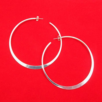 Large Avon Silver Hoop Earrings, Flat Hoops, Pierced Earrings, Vintage Jewelry