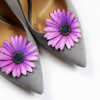 Purple gerber flower - shoe clips, shoe accessories, shoe fashion, real glitter, leather accessories, wedding shoe