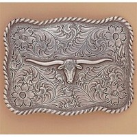 Antiqued Buckle With Longhorn