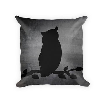 Owl on a Branch Cotton Poly Pillow