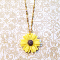 "Handmade ""Simply Sunflower"" Sunflower Necklace with Gold Chain"