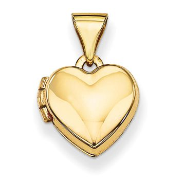 14kt Yellow Gold Plain Faced Double Photo Girls Locket Pendant