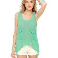 Lovely Mint Top - Tank Top - Sleeveless Top - $34.00