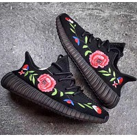 Adidas Yeezy 350 Boost V2 Floral Embroidery Sneakers Running Sports Shoes