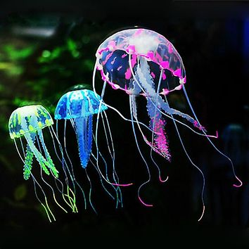 Silicone Simulation Artificial Jellyfish Glowing Effect Ornaments Decoration for Aquarium Fish Tank Decoration Accessories