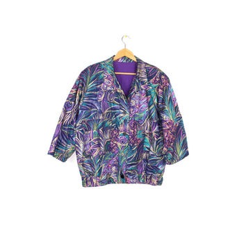 peacock feather coat - vintage jacket - purple teal & gold - tropical floral print