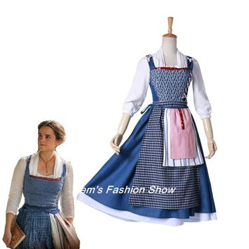 Movie Beauty and The Beast Belle Cosplay Costume Halloween Party Village Maid Outfit Costume
